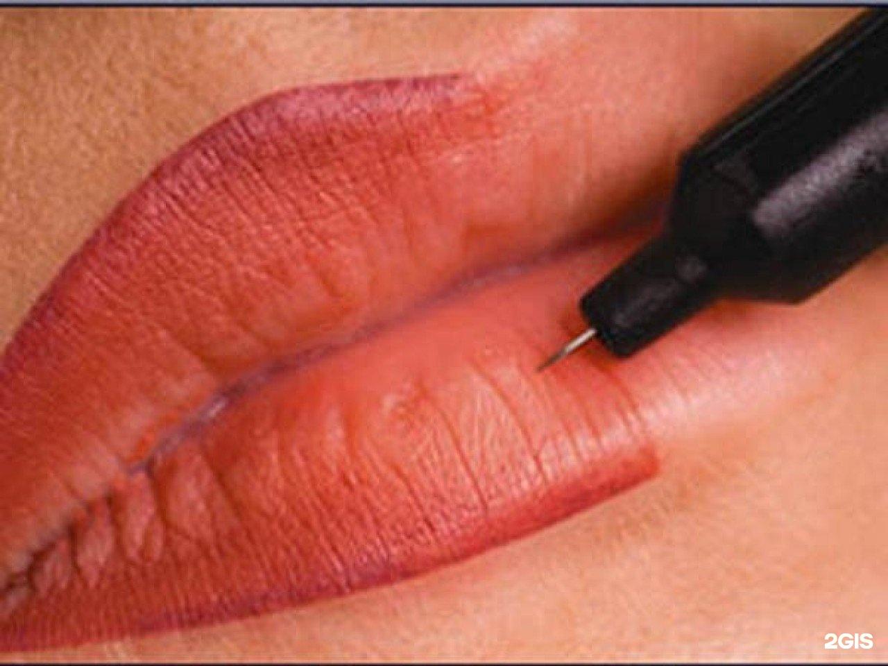 Перманентный макияж брови растушевка губы фото