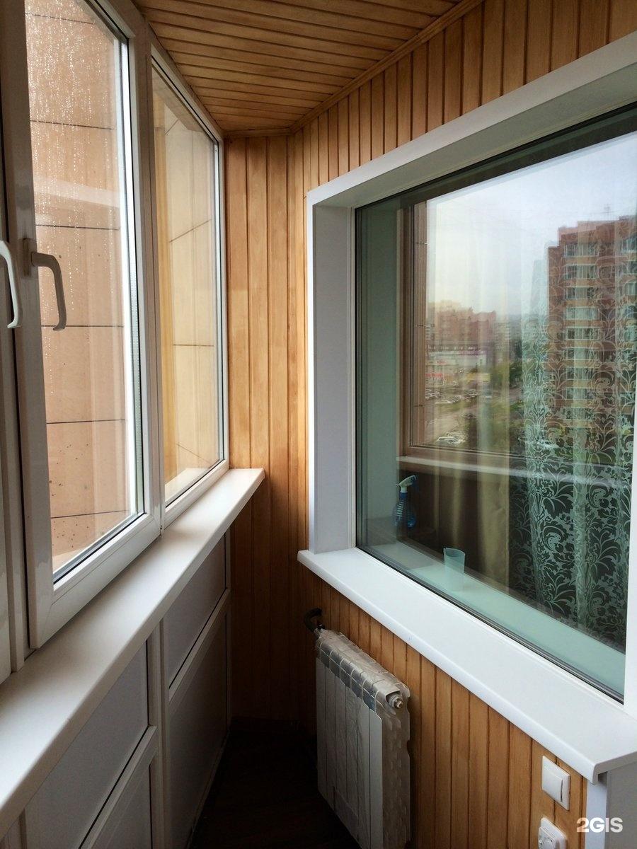 Остекление, утепление и отделка балкона вагонка-дерево на ул.