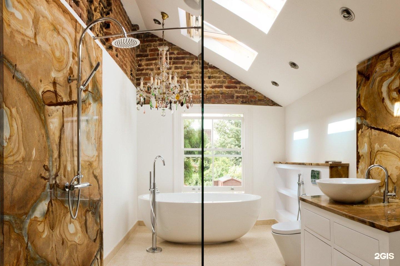 стильный интерьер ванной комнаты с окном фото 12872